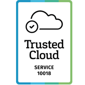 Logo Trusted Cloud - The Cloud-Offer KUMA365  is certified by the Federal Ministry for Economic Affairs and Energy (BMWi)