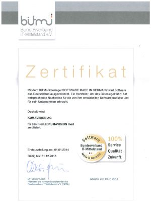 """Excellent! KUMAVISION receives quality seal """"Software Made in Germany"""""""
